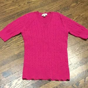 Hot Pink Cable Short Sleeve Sweater